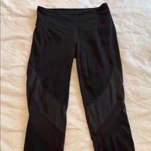 Athleta black mesh crop yoga leggings